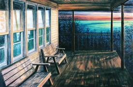 Architecture art,Seascape art,Travel art,oil painting,Ocracoke Coast Guard House