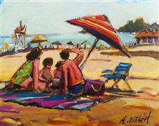 impressionism art,people art,seascape art,acrylic painting,Beach Family