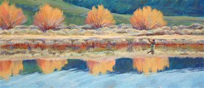 landscape art,people art,pastel artwork,Lake of the Dunes
