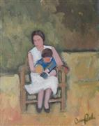 impressionism art,people art,oil painting,Mother and Child