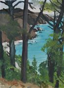 landscape art,nature art,seascape art,watercolor painting,Above Muir Beach