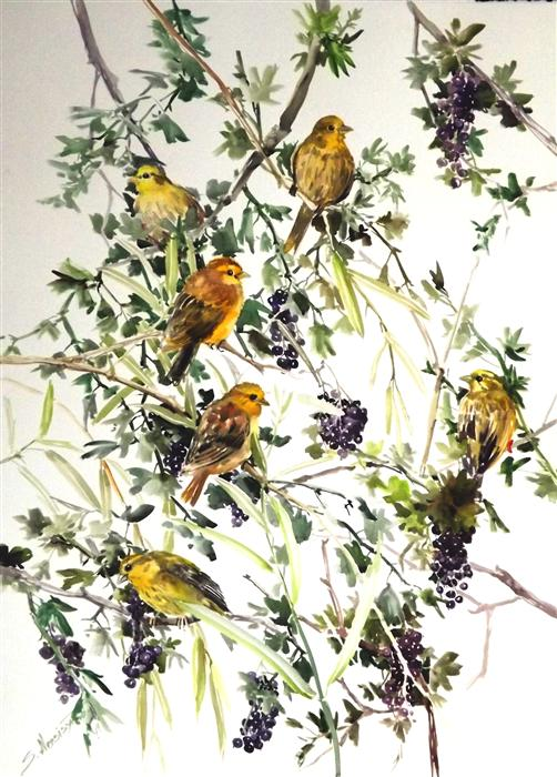 Original art for sale at UGallery.com | Yellowhammers and Blackcurrant by SUREN NERSISYAN | $650 | Watercolor painting | 30' h x 22' w | ..\art\watercolor-painting-Yellowhammers-and-Blackcurrant