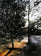 Landscape art,Flora art,watercolor painting,Morning Trees