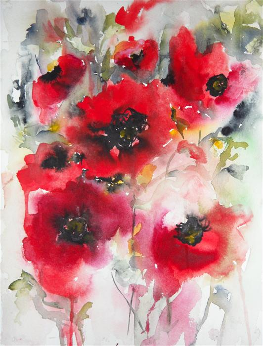 Original art for sale at UGallery.com | Poppies en Masse V by KARIN JOHANNESSON | $350 |  | 15' h x 11' w | ..\art\watercolor-painting-Poppies-en-Masse-V