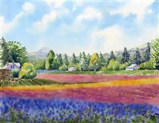 landscape art,nature art,watercolor painting,Allysum and Chicory