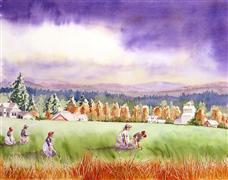 Landscape art,Nature art,People art,watercolor painting,Farm Workers
