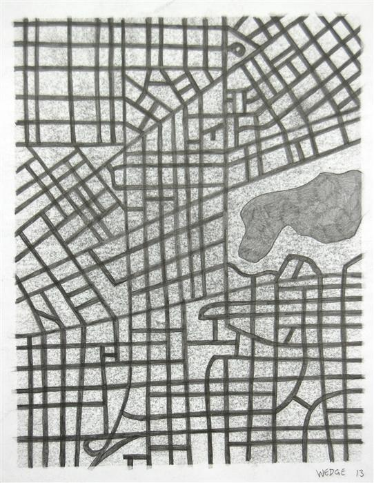 Original art for sale at UGallery.com | Imaginary City #18 by MICHAEL WEDGE | $325 |  | 14' h x 11' w | ..\art\pencil-drawing-Imaginary-City-18