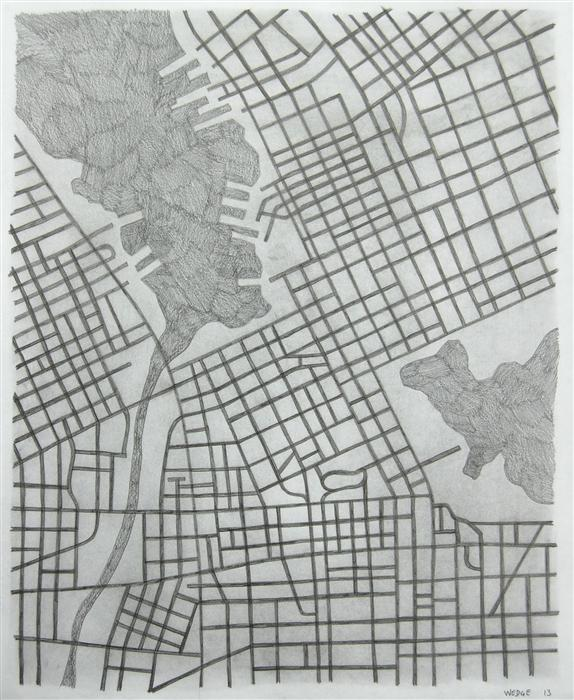 Original art for sale at UGallery.com | Imaginary City #20 by MICHAEL WEDGE | $475 |  | 22' h x 18' w | ..\art\pencil-drawing-Imaginary-City-20