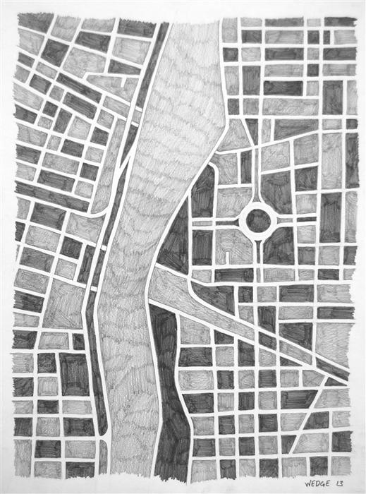 Original art for sale at UGallery.com | Imaginary City #13 by MICHAEL WEDGE | $350 |  | 16' h x 12' w | ..\art\pencil-drawing-Imaginary-City-13