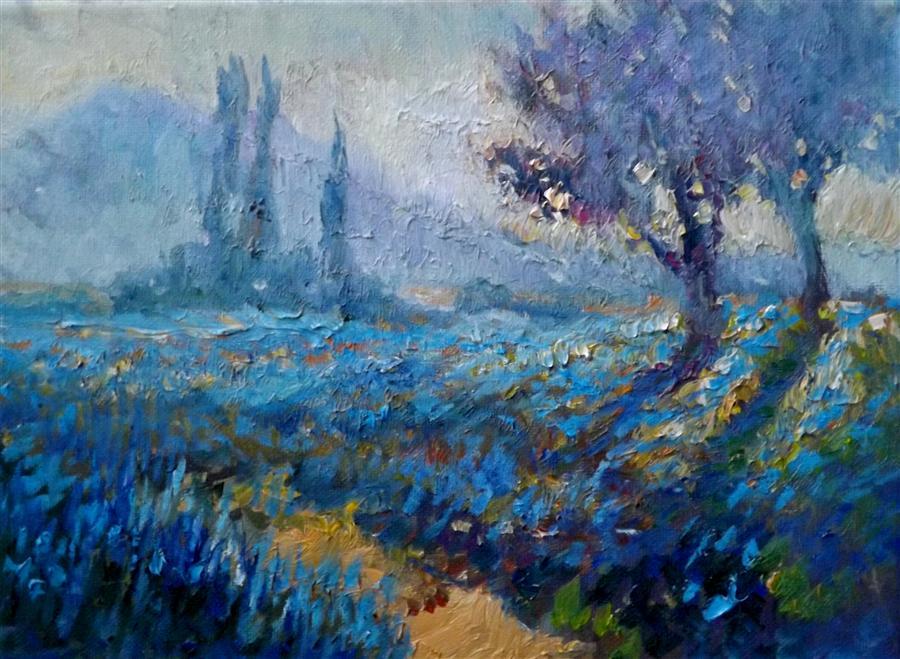 field of blue flowers early morning suren nersisyan