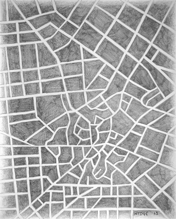 Original art for sale at UGallery.com | Imaginary City #12 by MICHAEL WEDGE | $300 |  | 10' h x 8' w | ..\art\pencil-drawing-Imaginary-City-12