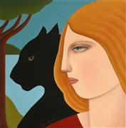 Animals art,People art,Surrealism art,oil painting,Profile with Black Panther