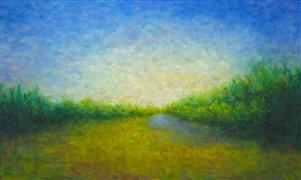 impressionism art,landscape art,nature art,oil painting,Summer Pond