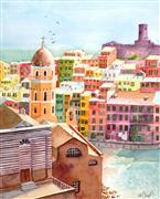 Architecture art,City art,Travel art,watercolor painting,Beauty on the Edge No. 2 - Cinque Terre