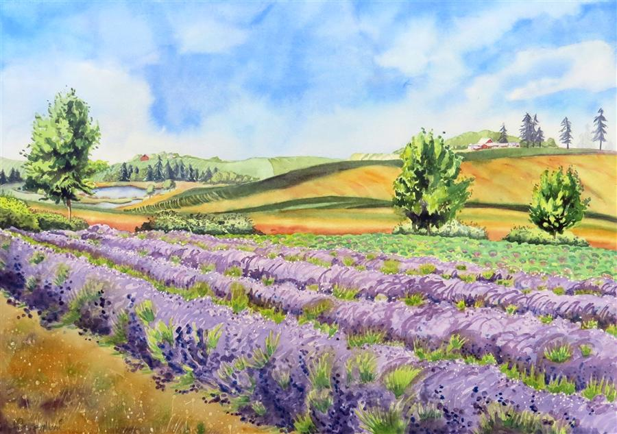 Original art for sale at UGallery.com | Stroll through the Lavender by NANCY MUREN | $1,075 |  | 22' h x 29.5' w | ..\art\watercolor-painting-Stroll-through-the-Lavender