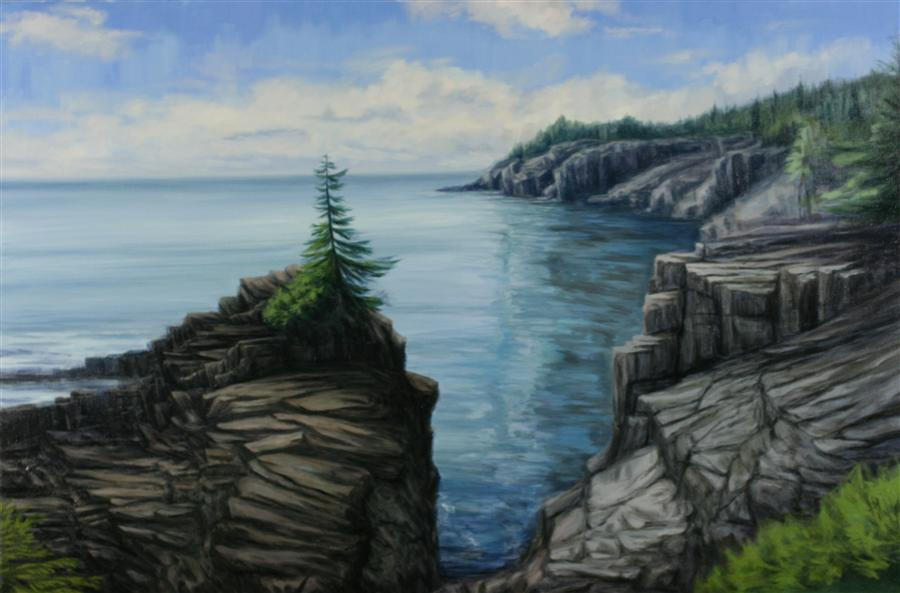 Original art for sale at UGallery.com | Lone Pine at Quoddy Head by JAY JENSEN | $1,425 |  | 20' h x 30' w | ..\art\oil-painting-Lone-Pine-at-Quoddy-Head