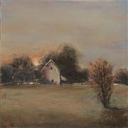 buildings art,landscape art,oil painting,White Farmhouse