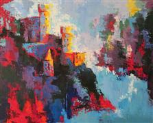 abstract art,buildings art,landscape art,oil painting,Rheinsein Castle