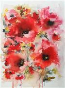 Flora art,watercolor painting,Poppies en masse VIII