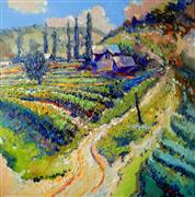 Impressionism art,Landscape art,oil painting,Old Vineyards in Armenia (August, Noon)