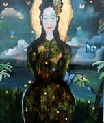 expressionism art,people art,mixed media artwork,Night Geisha With a Soft Face