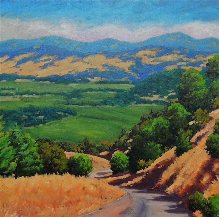 Original art for sale at UGallery.com | Napa Valley from Oakville Grade by STEVEN GUY BILODEAU | $1,050 |  | 24' h x 24' w | ..\art\oil-painting-Napa-Valley-from-Oakville-Grade