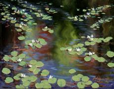 impressionism art,nature art,oil painting,Flowering Lily Pads