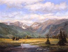 landscape art,nature art,oil painting,Moraine Park Fisherman
