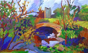 Impressionism art,Landscape art,Nature art,acrylic painting,Bridge with Ruin