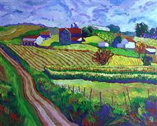 impressionism art,landscape art,acrylic painting,Lancaster County Farm