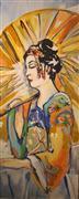 Fantasy art,People art,acrylic painting,Geisha with Umbrella