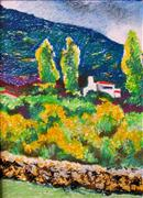 impressionism art,landscape art,pastel artwork,Beyond the Rock Wall