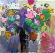still life art,botanical art,acrylic painting,Flowers in Umber Vase