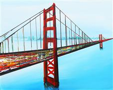 buildings art,landscape art,surrealism art,city art,acrylic painting,Golden Gate