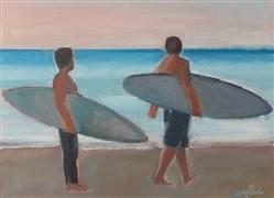 people art,seascape art,sports art,acrylic painting,Two Surfers