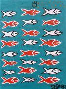 children's art,expressionism art,animals art,acrylic painting,Twenty-Four Fish