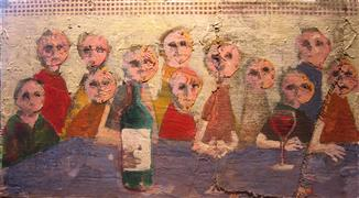 expressionism art,people art,mixed media artwork,Last Supper
