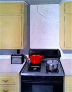 buildings art,still life art,acrylic painting,The Red Dutch Oven and the Earthquake