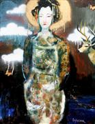 fantasy art,people art,surrealism art,mixed media artwork,A Night Geisha with Deer and Drippy Clouds