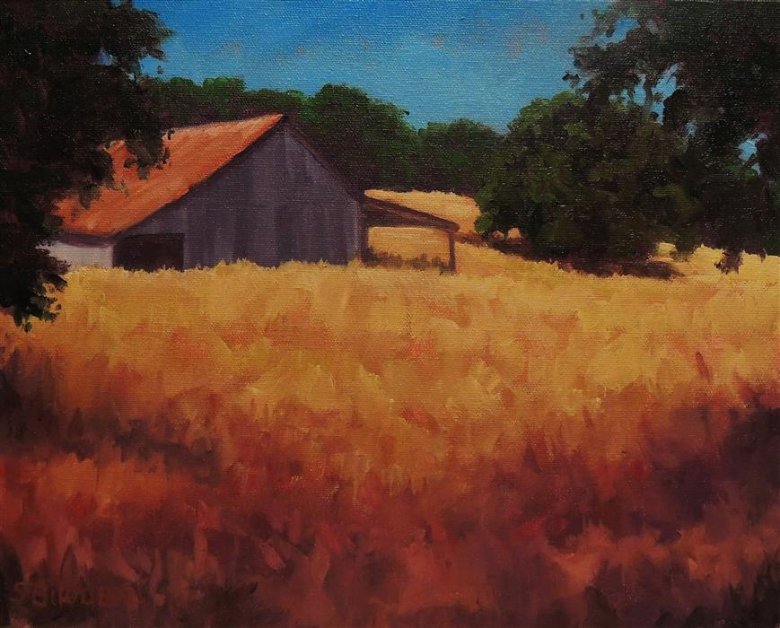 Original art for sale at UGallery.com | Barn In Golden Grasses by STEVEN GUY BILODEAU | $475 |  | 11' h x 14' w | ..\art\oil-painting-Barn-In-Golden-Grasses