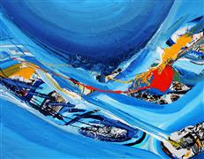 Abstract art,Expressionism art,Seascape art,acrylic painting,Blue Fabric