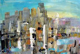 Abstract art,Architecture art,City art,acrylic painting,Riverside