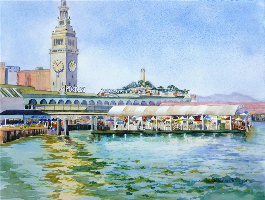 Original art for sale at UGallery.com | Port of San Francisco by CATHERINE MCCARGAR | $600 |  | 12' h x 16' w | ..\art\watercolor-painting-Port-of-San-Francisco