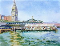 Architecture art,Seascape art,Classical art,Representational art,watercolor painting,Port of San Francisco