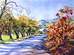 landscape art,nature art,botanical art,watercolor painting,Autumn Road Sonoma
