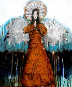 fantasy art,people art,religion art,surrealism art,mixed media artwork,A Set of Silver Wings and a Silver Halo