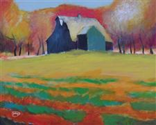 buildings art,landscape art,acrylic painting,Barn and Shed
