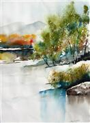 landscape art,nature art,watercolor painting,Bosque Colors II