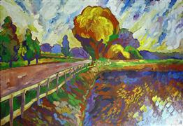 impressionism art,landscape art,nature art,acrylic painting,In the Country