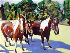 Animals art,Western art,acrylic painting,Pinto Trio